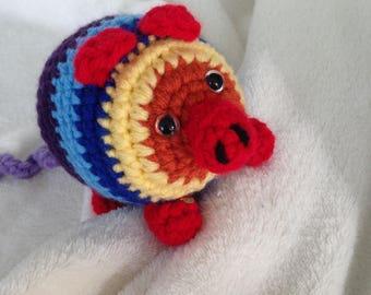 Rainbow Pig Crochet Handmade