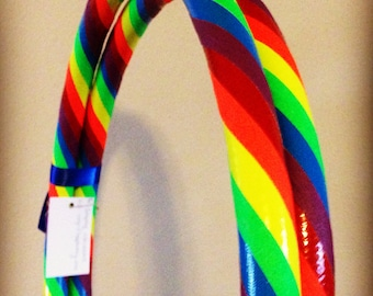 Rainbow Collapsible Hula Hoop - GLOWS Under BlackLight! - For Exercise Fitness Dance - Red Orange Yellow Green Blue Purple
