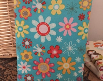 Fabric covered A6 notebook retro flower