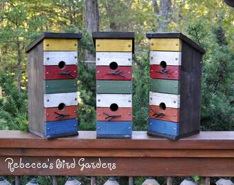 """Rustic Birdhouse ~ """"The Row House"""" - Unique Birdhouse - Wooden Birdhouse - Outdoor Birdhouse - Rustic Birdhouses - Colorful Birdhouse"""