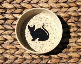 Ceramic CAT Bowl - Food Water Bowl - Small Handmade Speckled Cream Stoneware Bowl - Black Cat Silhouette - Ready To Ship
