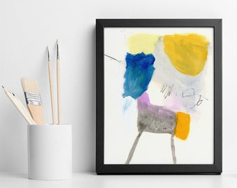 """Small ABSTRACT PAINTING Original Colorful Abstract Art 8x10  """"California Trip 04"""" contemporary art in Blue and Yellow"""