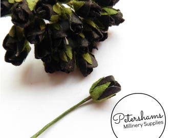 24 Super Mini Paper Rosebud Flower Wired Picks for Millinery - Black