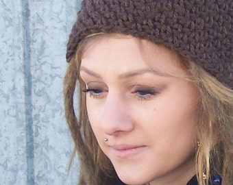 The Slouch Beanie in Chocolate - Ski Hat, Stocking Cap, Long Beanie, Indie Hipster Hat