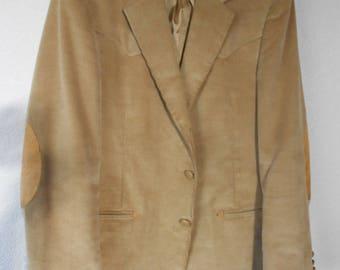 Dallas Western Apparel Tan Corduroy Cowboy jacket suede elbow patches/Western Cowboy Corduroy Jacket/Men's Corduroy Jacket/Size L