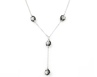 Silver Sparkle Chain with 4 Flower Crystal Pendant Necklace