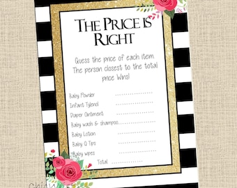 BLACK and WHITE stripes Baby Shower Game / price is right baby shower game // baby shower price is right / Digital File Instant download