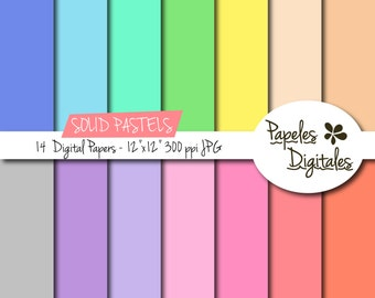 "Pastel Solid Digital Paper Pack - Digital Papers / Printable Backgrounds - 14 Colors/Sheets Instant Download 12""x12"" JPG 300 dpi"