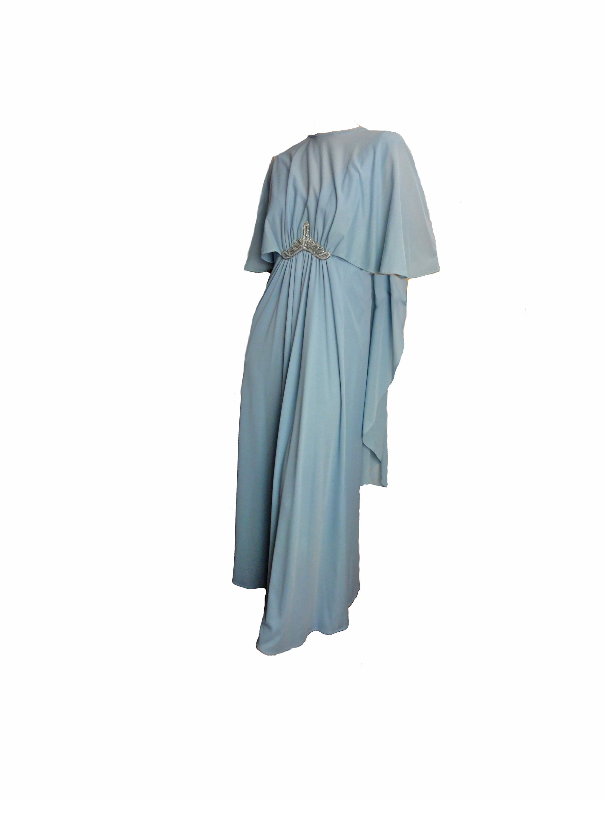Vintage 70s Formal Dress Prom Baby Blue Evening Gown With Cape