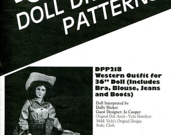 "FREE US SHIP Poissot Doll Dress Pattern dpp218 Western Outfit 36"" Doll 1994 Sewing Pattern Insert From Dollcrafter Vintage Magazine"