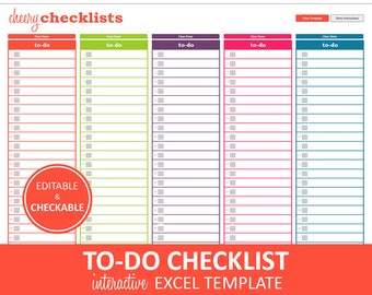 Cheery Checklists - To Do List Printable   Excel To Do List Template   Checklist Planner   Instant Digital Download