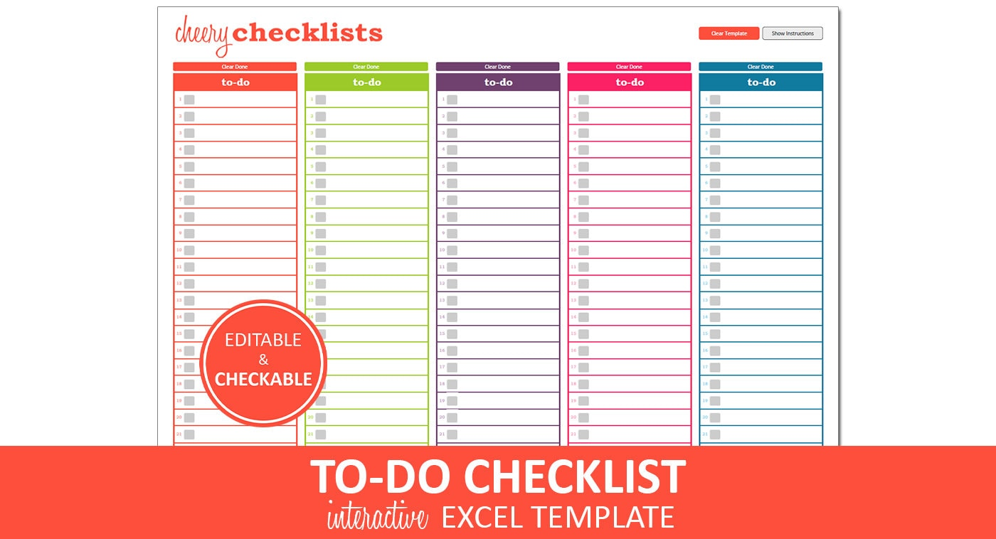 Cheery checklists to do list printable excel to do list zoom alramifo Choice Image