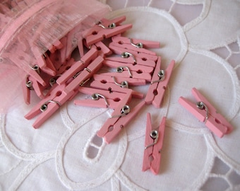 MINI Pink Wooden Clothespins for Wedding Favors, Scrapbooking, Party Favors, Embellishment, Gift Tags, 1 inch, 50 pieces