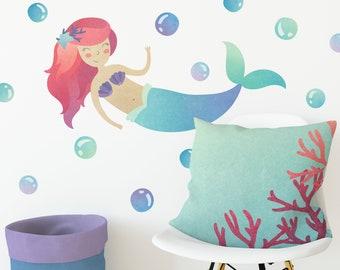 Mermaid Wall Decal - Wall Decor, Watercolor Mermaid Wall Art, Nursery Decor, Reusable Wall Decal, Mermaid, Gift for Her, Girls Room Decor