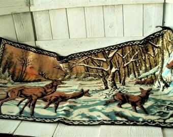 Vintage rug tapestry stag elk deer snowy mountain landscape/ free shipping US