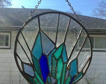 Aqua Aura Quartz Crystal Stained Glass Suncatcher