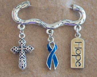 Colon Cancer Ribbon Awareness Brooch