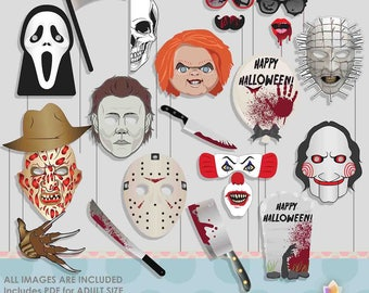 Horror Movie Halloween Photo Booth Props for Scary Halloween Party