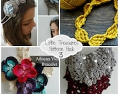 Crochet PDF Pattern Discount Pack - 4 PDF flower headband,Bohemian necklaces,crochet African Rose Bracelet, crochet collar necklace
