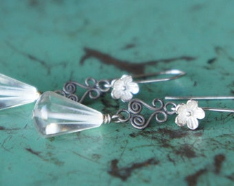Vintage Assemblage Earrings with Art Deco Glass Drops