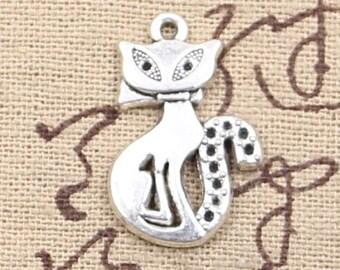 6 Cat Charms Antique Silver Tone Charm Feline Charm Bracelet Bangle Bracelet Pendants #390