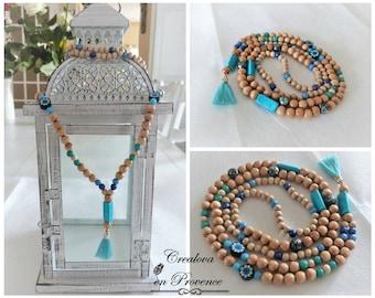 Necklace boho Chic - Turquoise - Pompom & wood beads