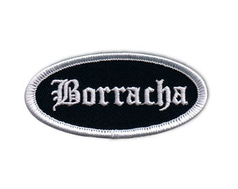 Borracha Name Tag Patch Novelty Badge Mexican Sign Embroidered Iron On Applique