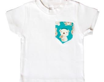 White Tee with Aqua Koala & Kangaroo Pocket - Australian Clothing for Baby Boys and Girls - Sydney, Australia