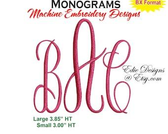 Casual Script Monograms  Script Monograms  BX Format Monogram Fonts Machine Embroidery Designs Digital Download