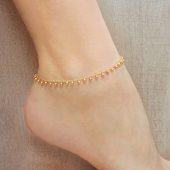 Gold or Rose Gold Chain Anklet Summer Boho Beaded Beach