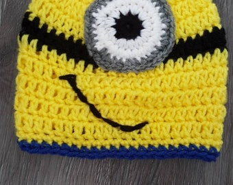 Handmade crochet minions hat for boy or girl.