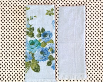 Bubble Blues~Blue Rose~Vintage~Bath Towel~Cannon~Sky Blue~Set of 2~Blue Bathroom
