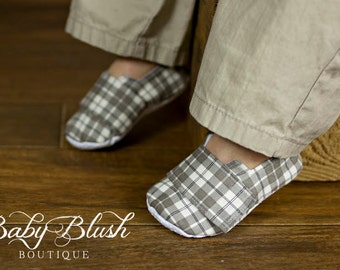 Grey Baby Boy Soft Soled Shoes - Infant Loafer Boy Shoes