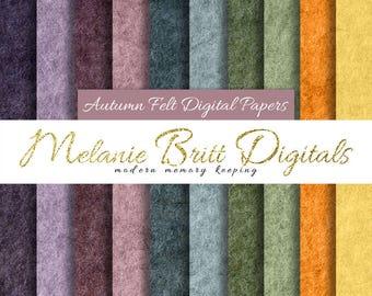 AUTUMN FELT digital paper pack, purple, maroon, green, orange, yellow, fall, felt texture, scrapbook paper, printable pdf, instant download