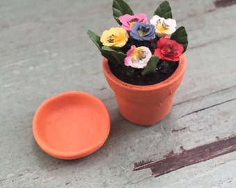 Miniature Pansies, Mini Pansy Flower Pot, #87, Terra Cotta Clay Look Flower Pot With Saucer, Dollhouse Miniature, 1:12 Scale, Mini Flowers