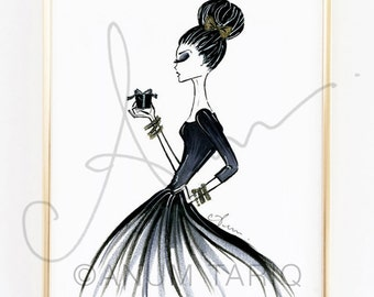Fashion Illustration Print, Holiday Glam, 8x10""