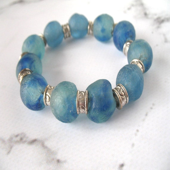 Beaded Bracelet in Chunky Ghana Blue Recycled Glass Fair Trade Beads and Silver Accents, African Bracelet, Organic Bracelet, Women's Gift