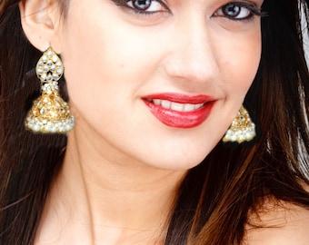 Kundan jhumkas earings,GOLD & Pearl JHUMKA EARRINGS,Kundan Jhumka,Large Dome earrings,jhumkis,Indian Jewellery by Taneesi