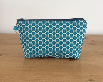 Makeup pouch, notions pouch, knitting notions storage, gift, Screen printed fabric, teal, flower pops