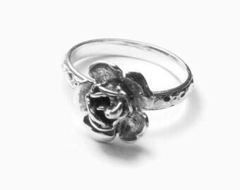 Sterling silver rose ring, Flower ring