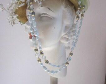 """Light """"Celadon  Green"""" Vintage West German Glass Necklace"""