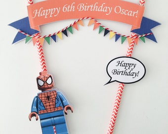 Personalised Lego Spiderman Cake Topper