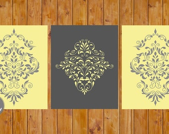 Damast Wand Kunst Home Decor Raum Charcoal Grey und Butter gelb druckbare Set von 3 DIY Digital 8 x 10-JPG-Dateien (145)