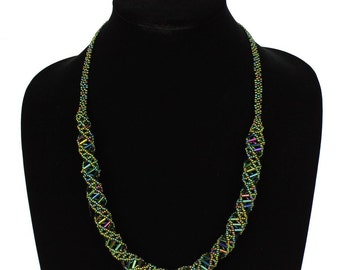Hand beaded green iridescent DNA helix necklace, magnetic clasp, 24 inches #203