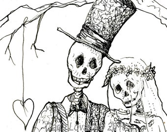 Skeleton  Day of the Dead, wedding, blank card, Bride and groom,  halloween wedding
