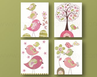 Baby Girl Nursery Art Print Children's art baby nursery decor kids wall art Girl's room decor Birds nursery tree Pink green -Set of 4 prints