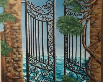 "16"" x 20"" Suitenumber "" Gates to the Waves"" Acrylic Painting"