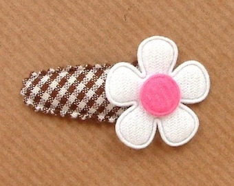 Flower Hair Clip for Baby Girl in Brown French Vichy