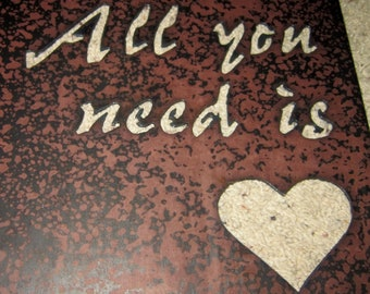 All You Need Is Love-Metal Art-steel art-rustic