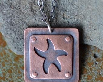 Starfish Riveted Square Pendant